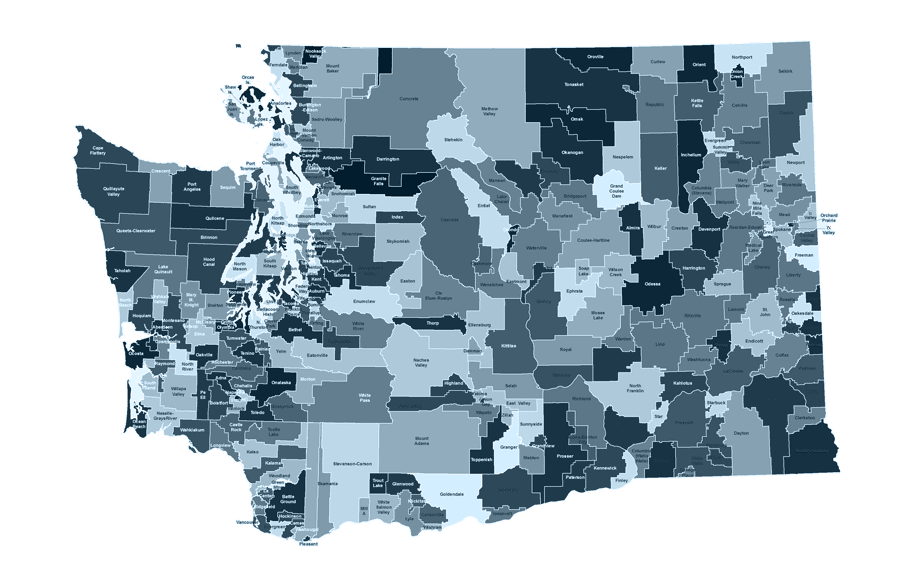 map of school districts in Washington State